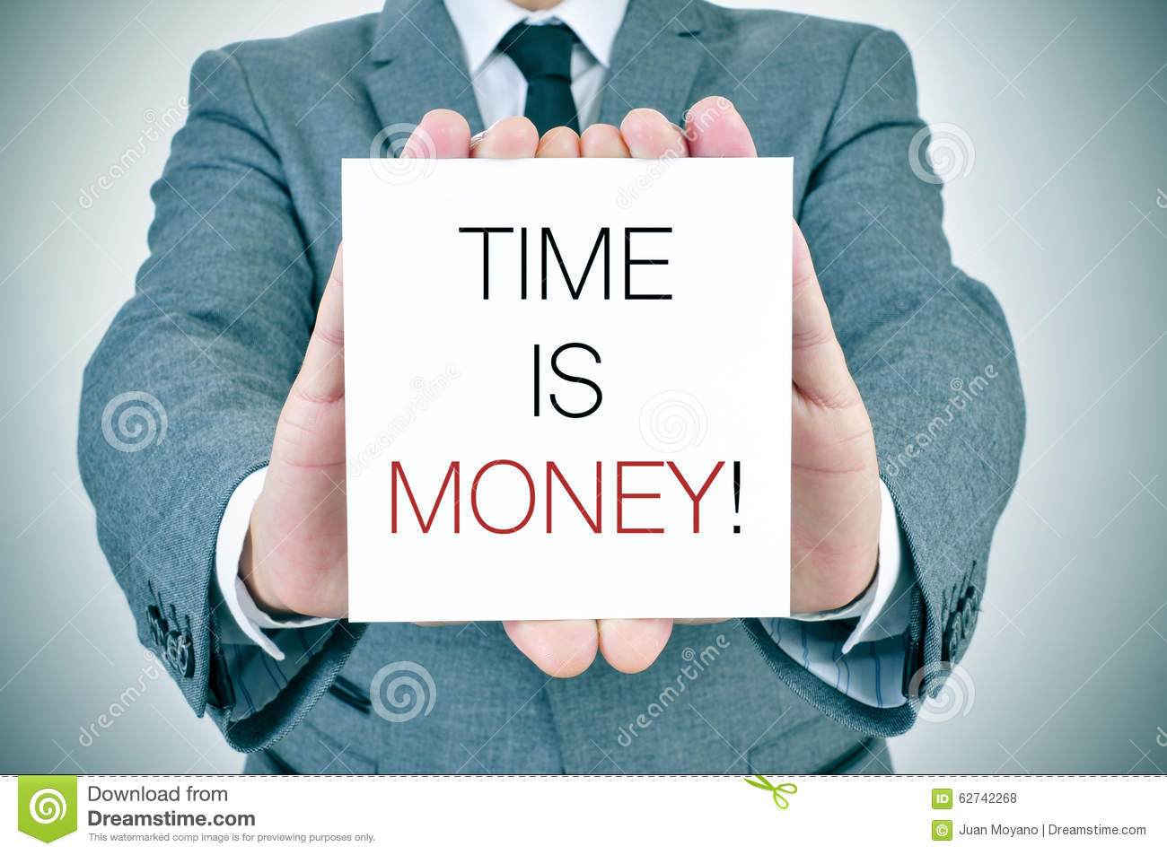 Businessman with signboard with text time is money