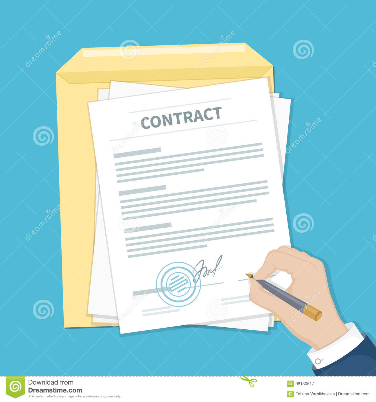 businessman signing a contract man hand with pen document and