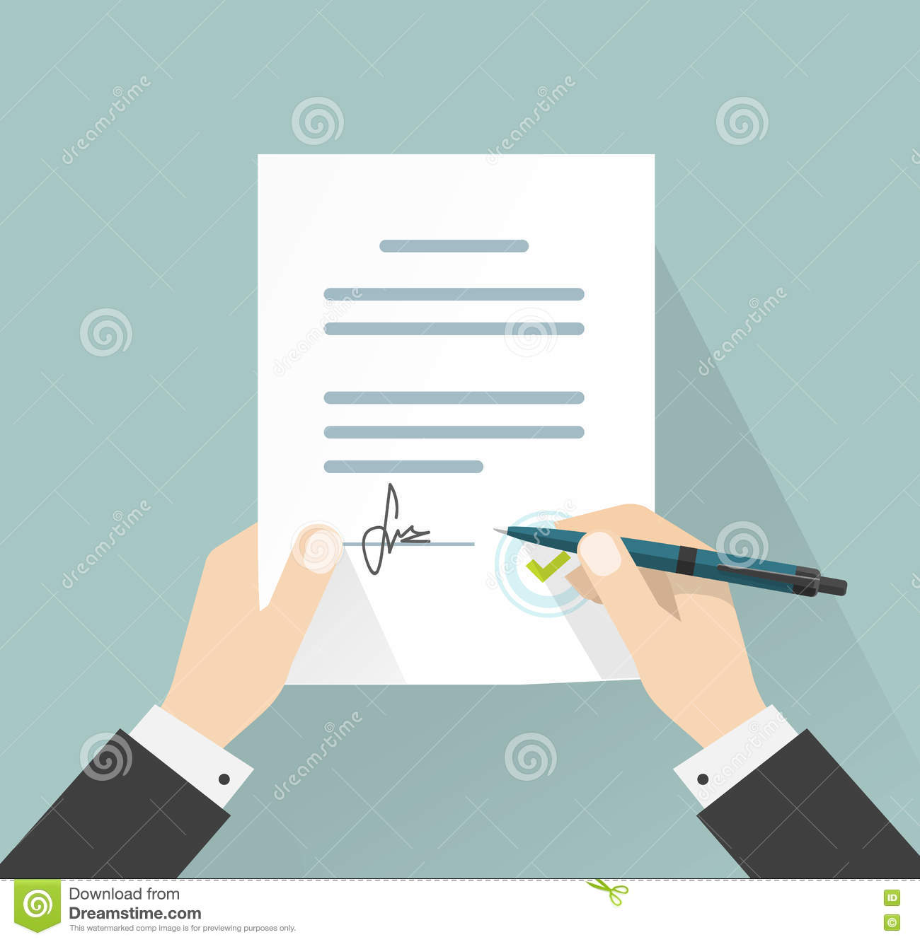 Businessman Signing Document Vector Hands Holding