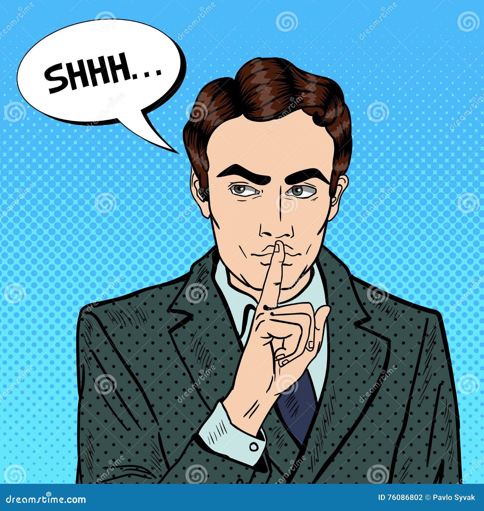 businessman quite job resign form work dismissed employee stock businessman silent quite gesture finger mystery secret pop art stock photography