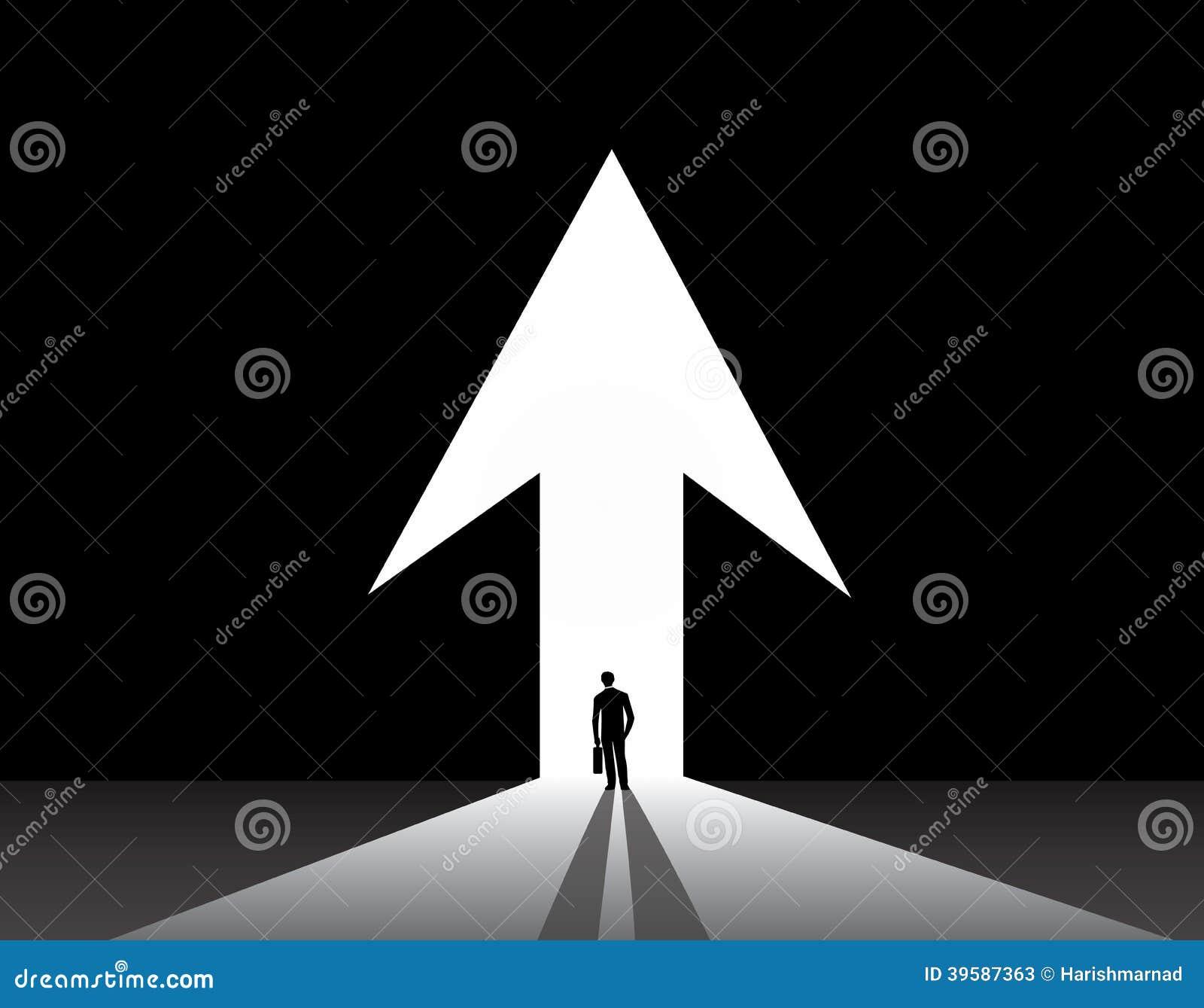 Businessman silhouette front of up arrow door Stock Photos & The Future - Door Mat Open Door Arrow Stock Photos - Image: 16947873 Pezcame.Com
