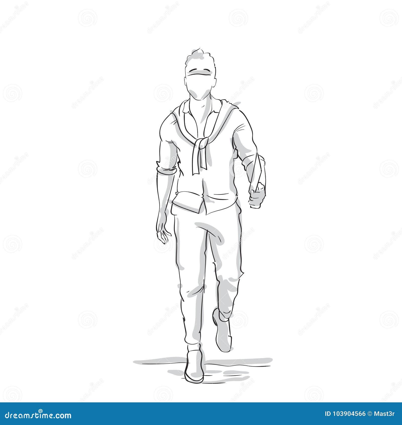 Businessman silhouette walking forward sketch business man full length figure on white background