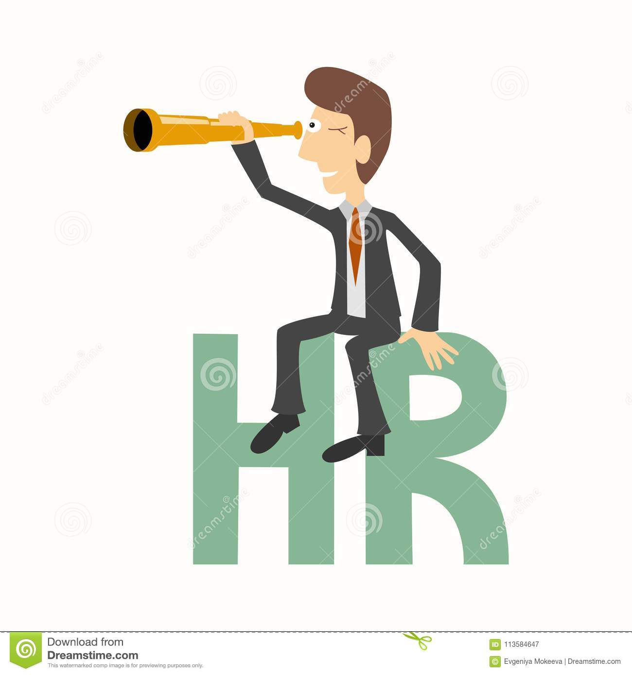 Businessman sits on HR letters human resources and looks throu