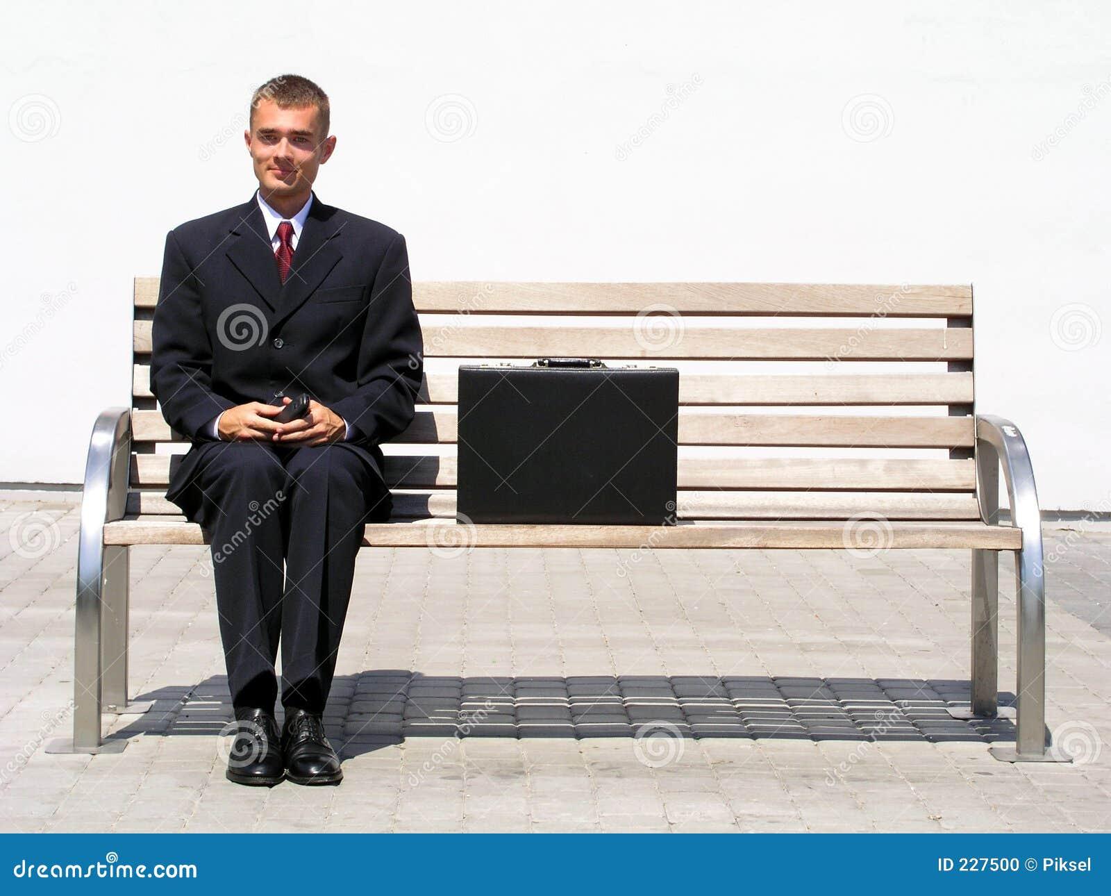 Businessman Sitting On Bench Stock Photo Image Of Waiting