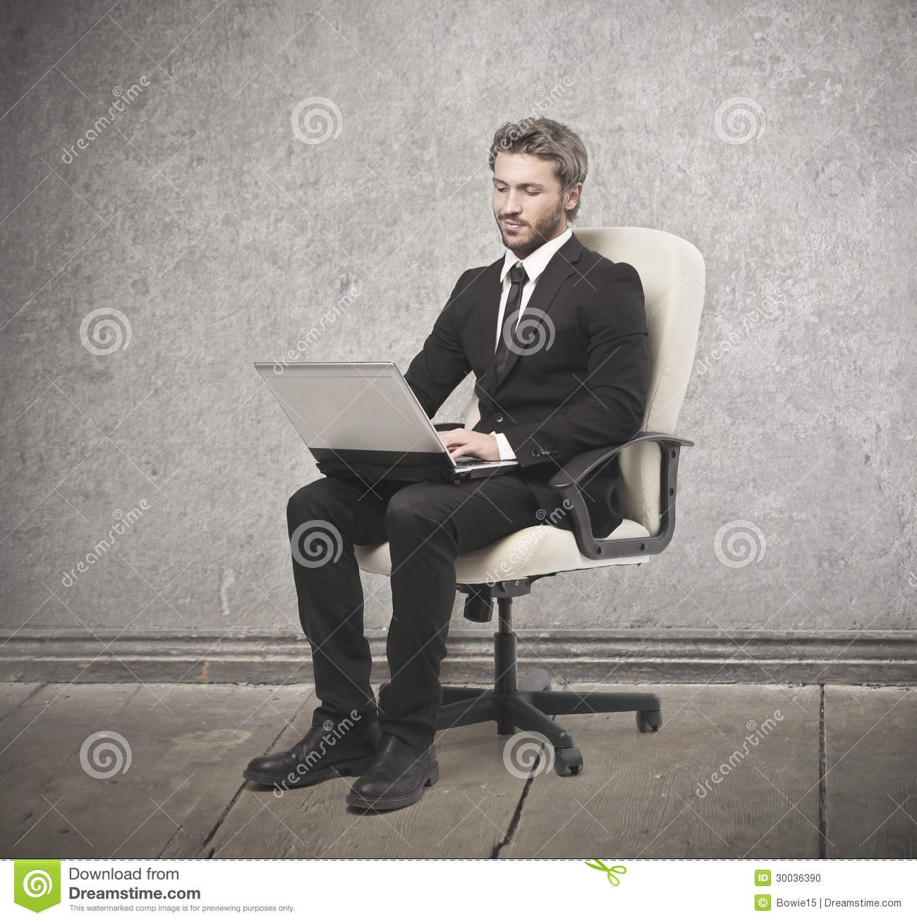 Man sitting on a white armchair stock photo image 30036390 for Sitting in armchair