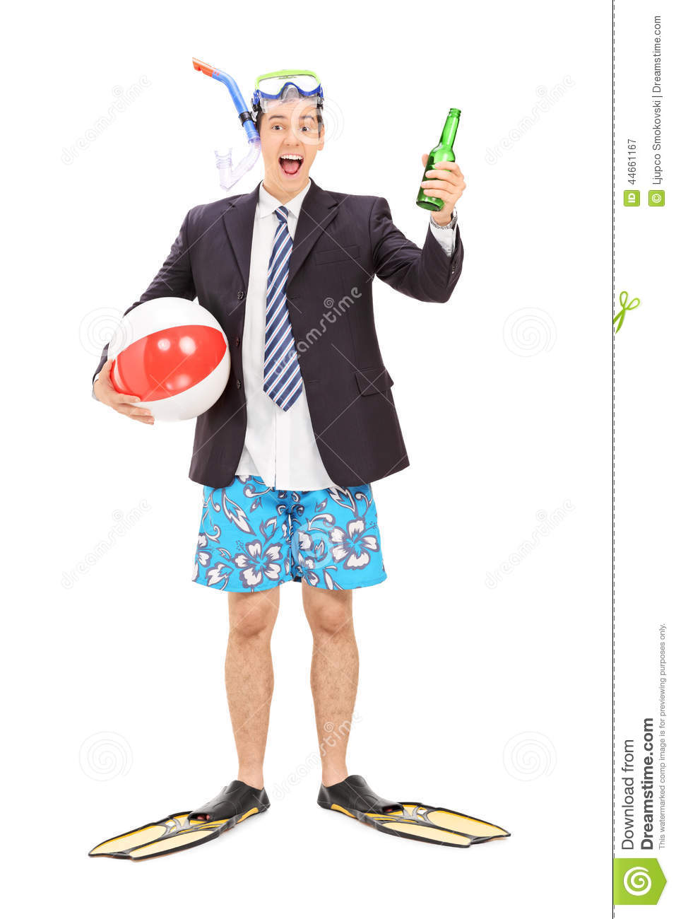 Businessman with snorkel holding a bottle of beer