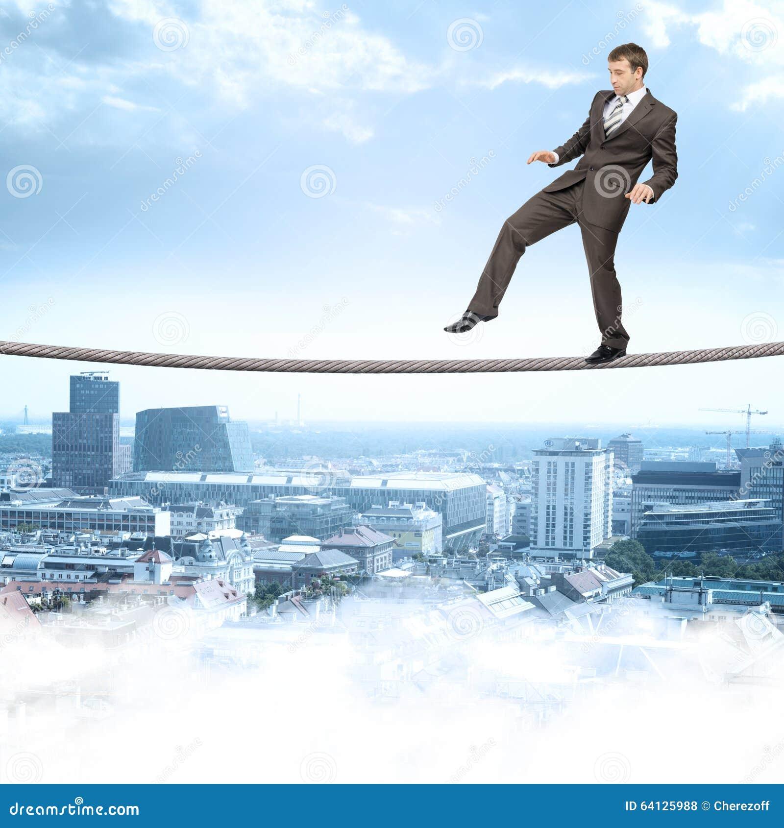 Businessman Softly Walking On Rope Stock Photo Image