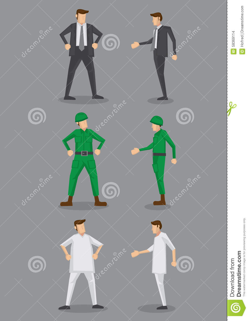 side view office set. businessman front icons isolated male nurse occupation office set side vector view