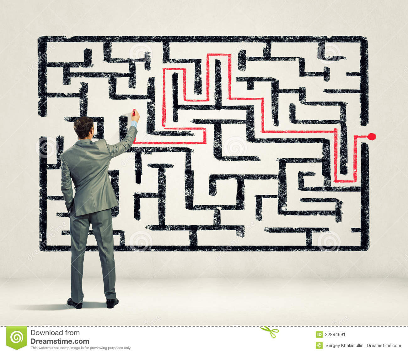 Businessman Solving Labyrinth Problem Stock Image - Image of exit