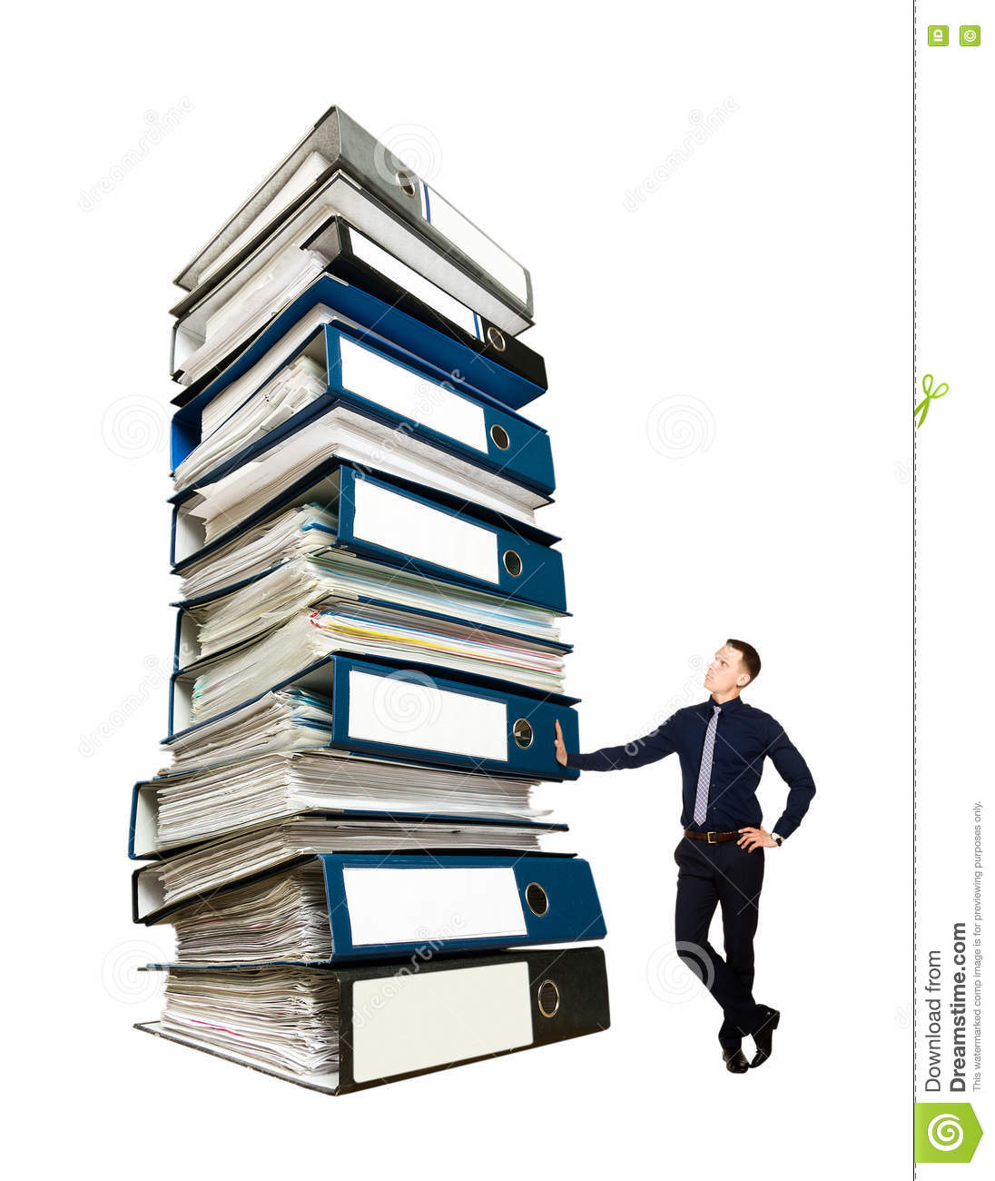 Pile Of Reports : Businessman and a stack of office folders concept stock