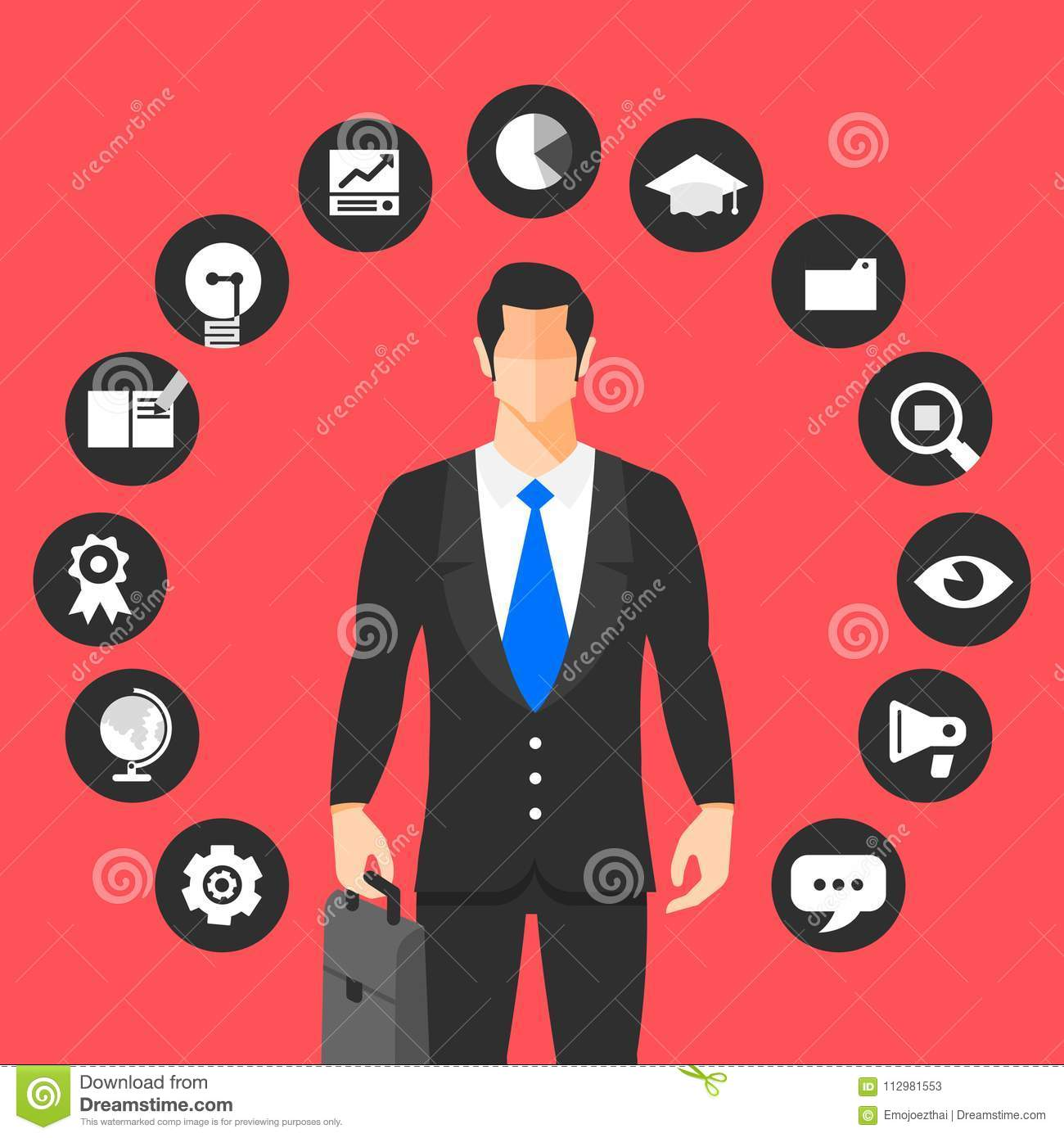 businessman stand around icon foe business activity. Vector illustrate.