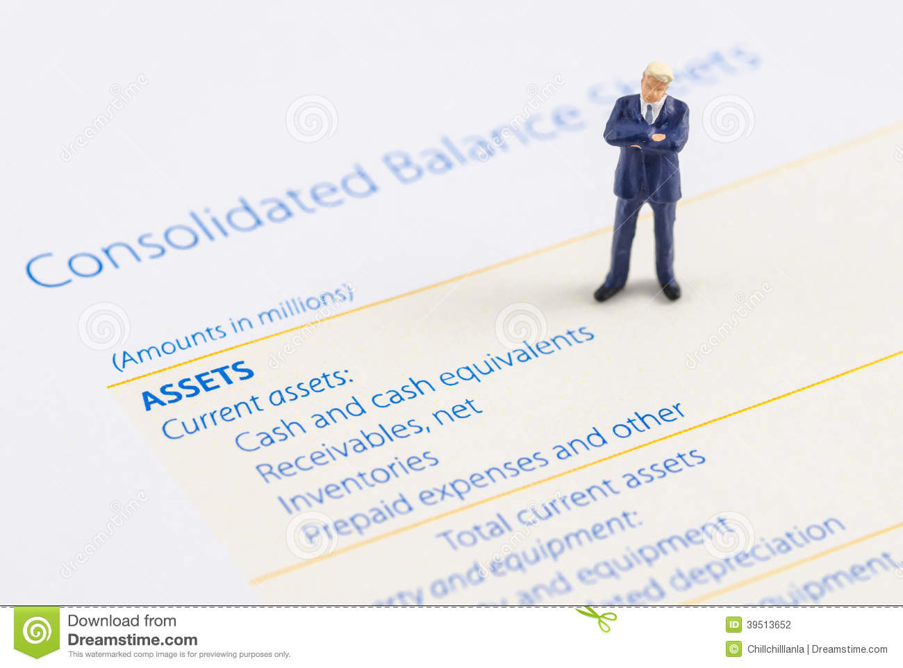 Businessman stand on the balance sheet