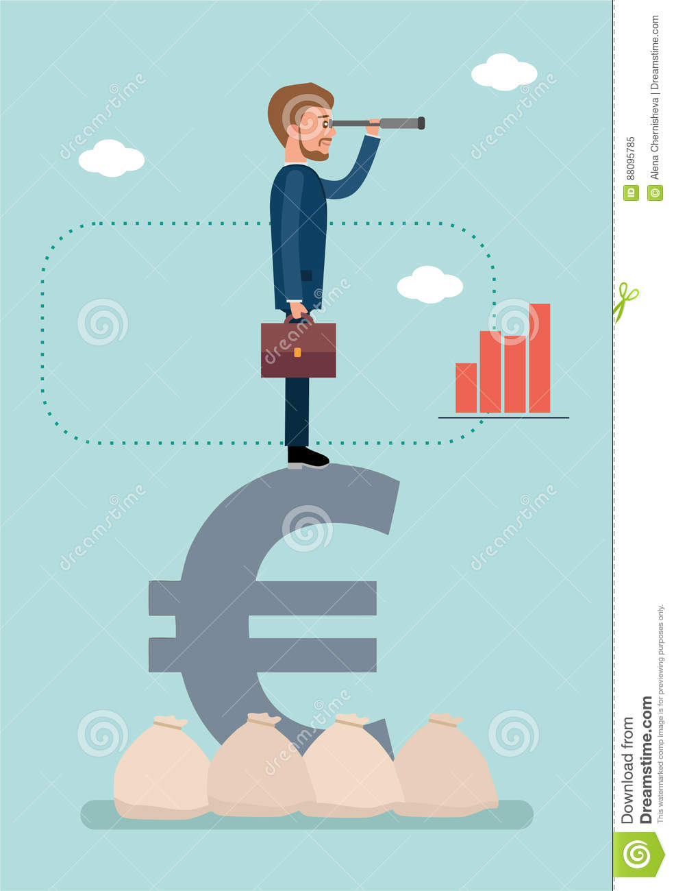 Businessman Standing On Euro Sign And Looking Through A ...