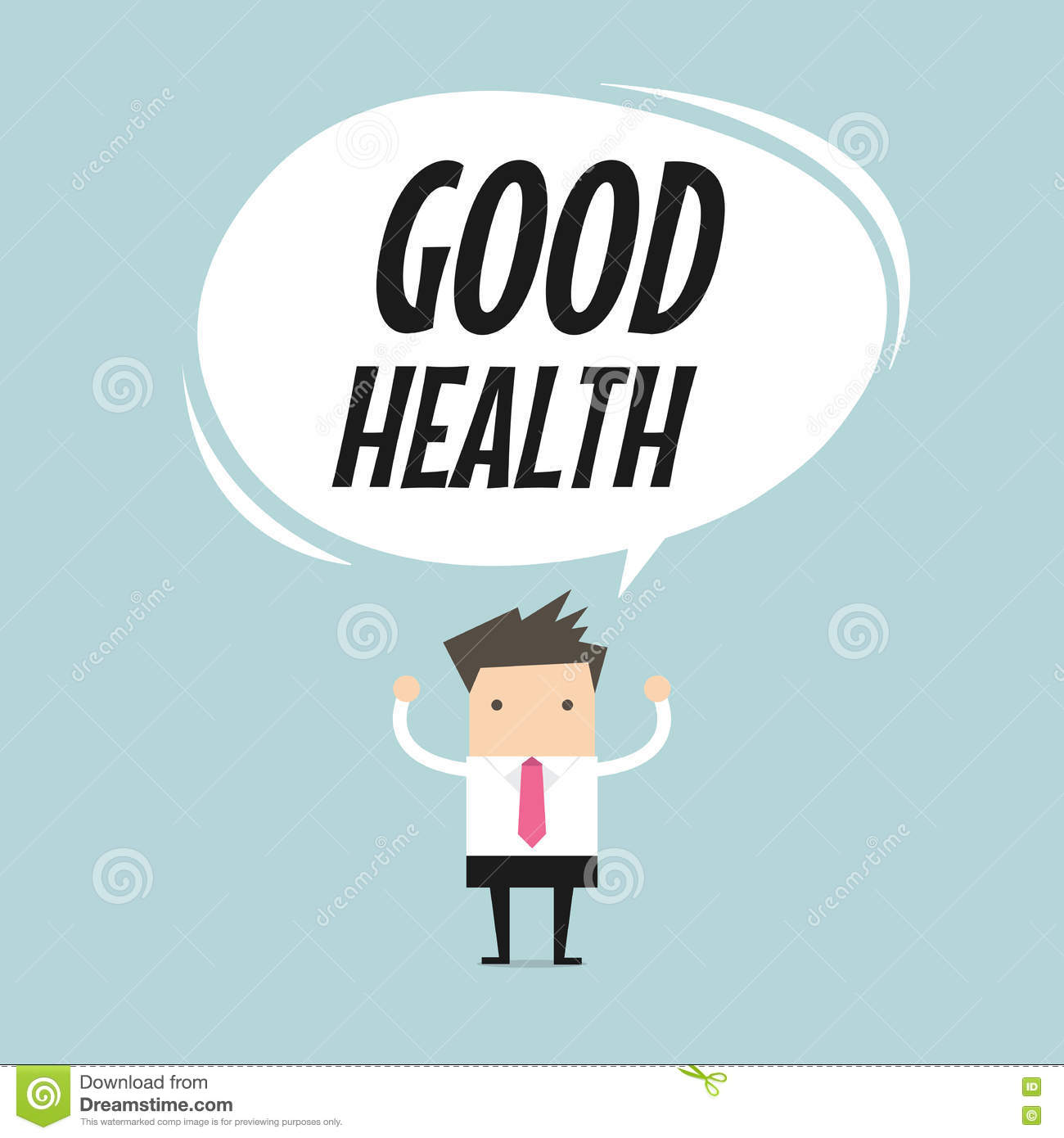 Businessman standing with good health word balloon, healthy lifestyle concept.