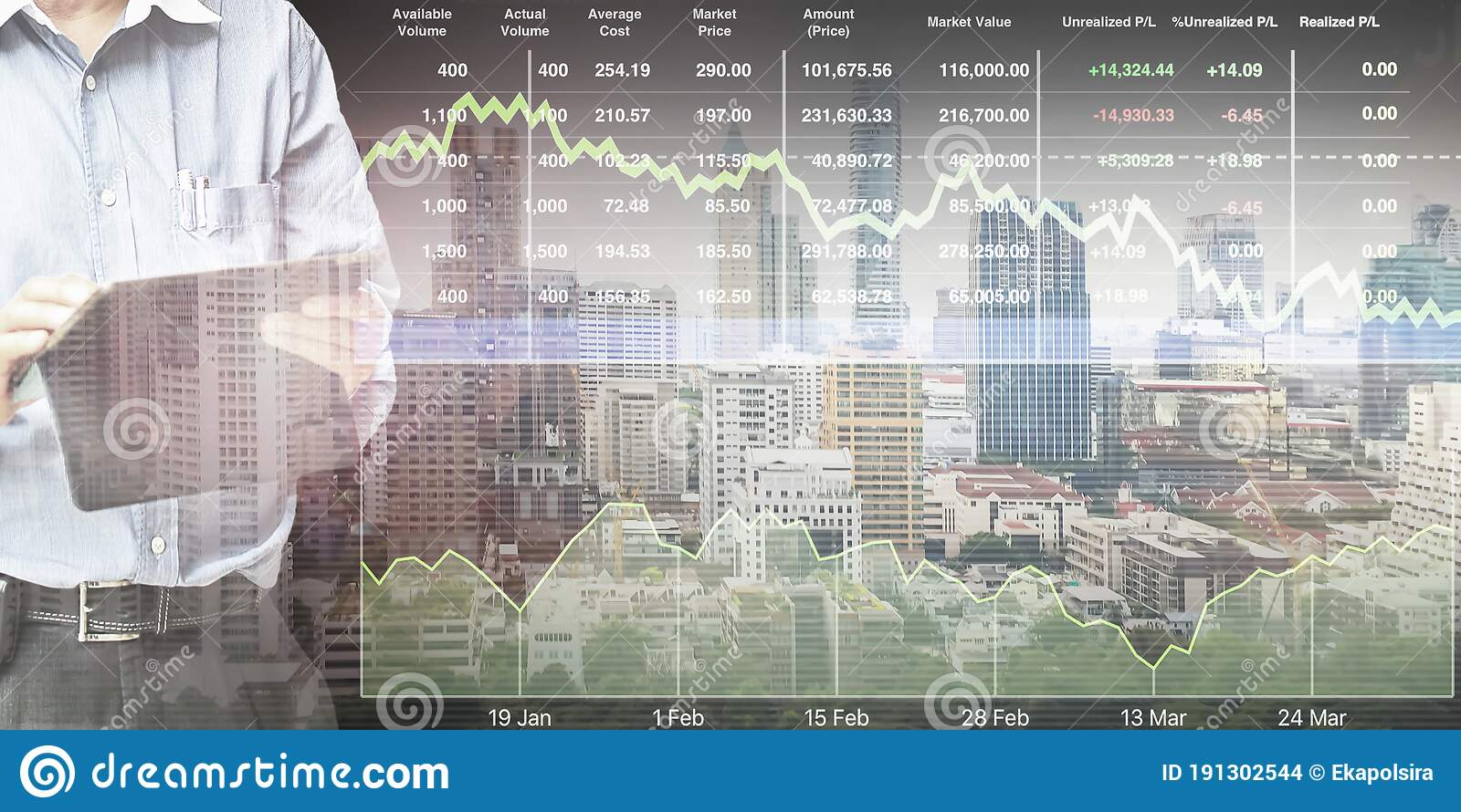 Businessman Standing And Operate Tablet To Control And Connect Big Data Of Real Estate Sector Stock Market Index Stock Photo Image Of Diagram Analysis 191302544