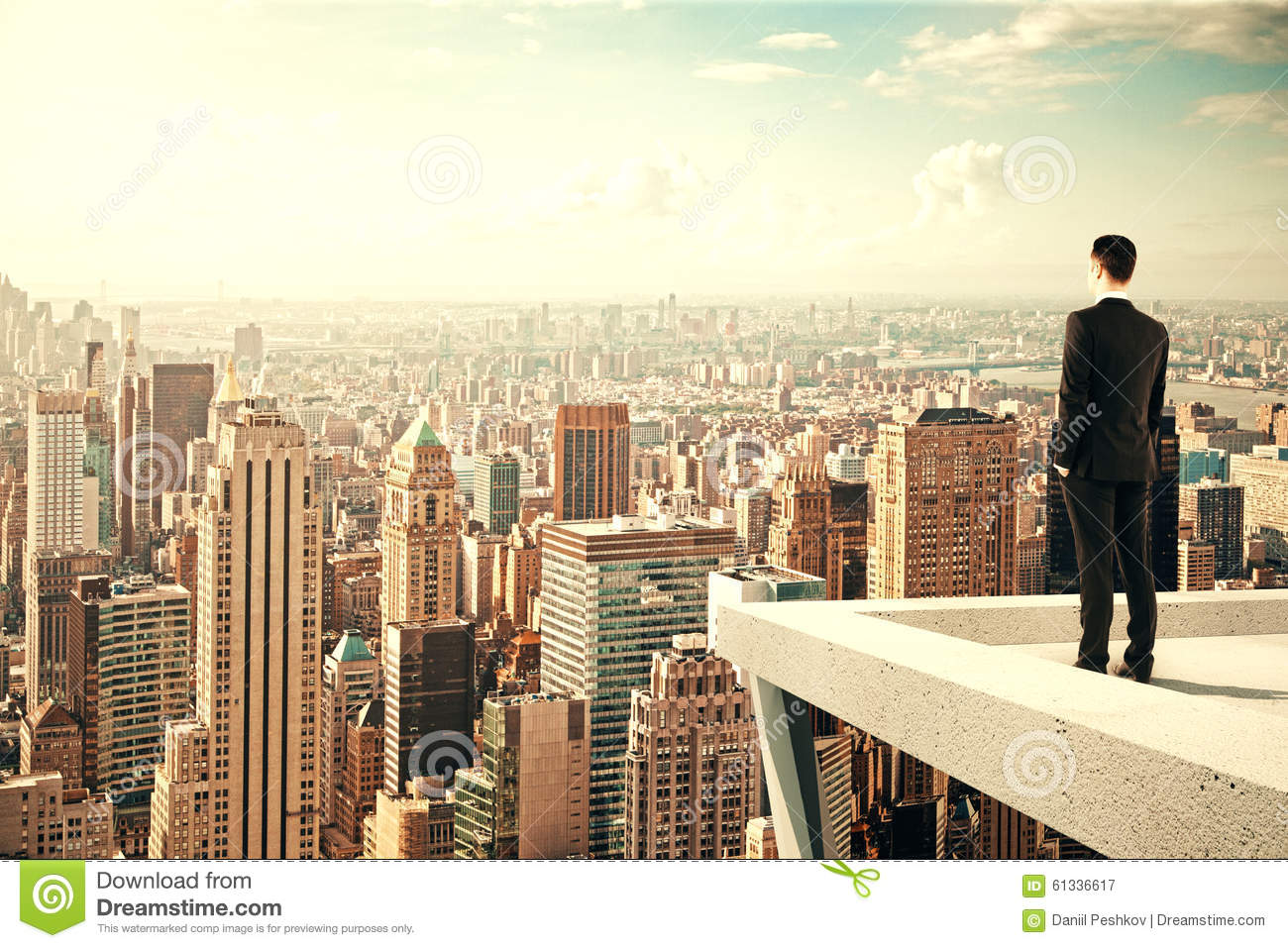businessman standing on the roof of a skyscraper and Business Clip Art Happy Birthday Clip Art