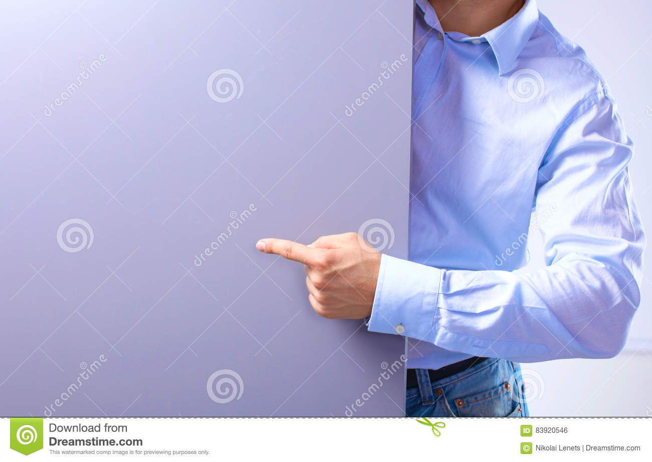 Businessman standing shows the banner