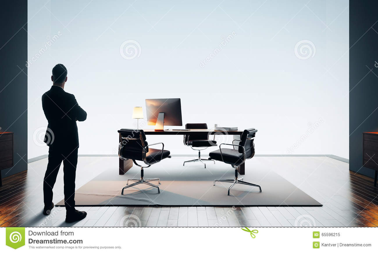 Businessman Stands In Modern Office And Looking At Horizon Color