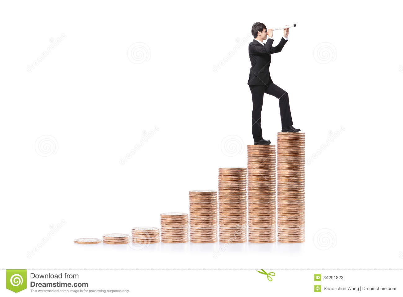 Businessman Step On Money And With Telescope Stock Photos ...