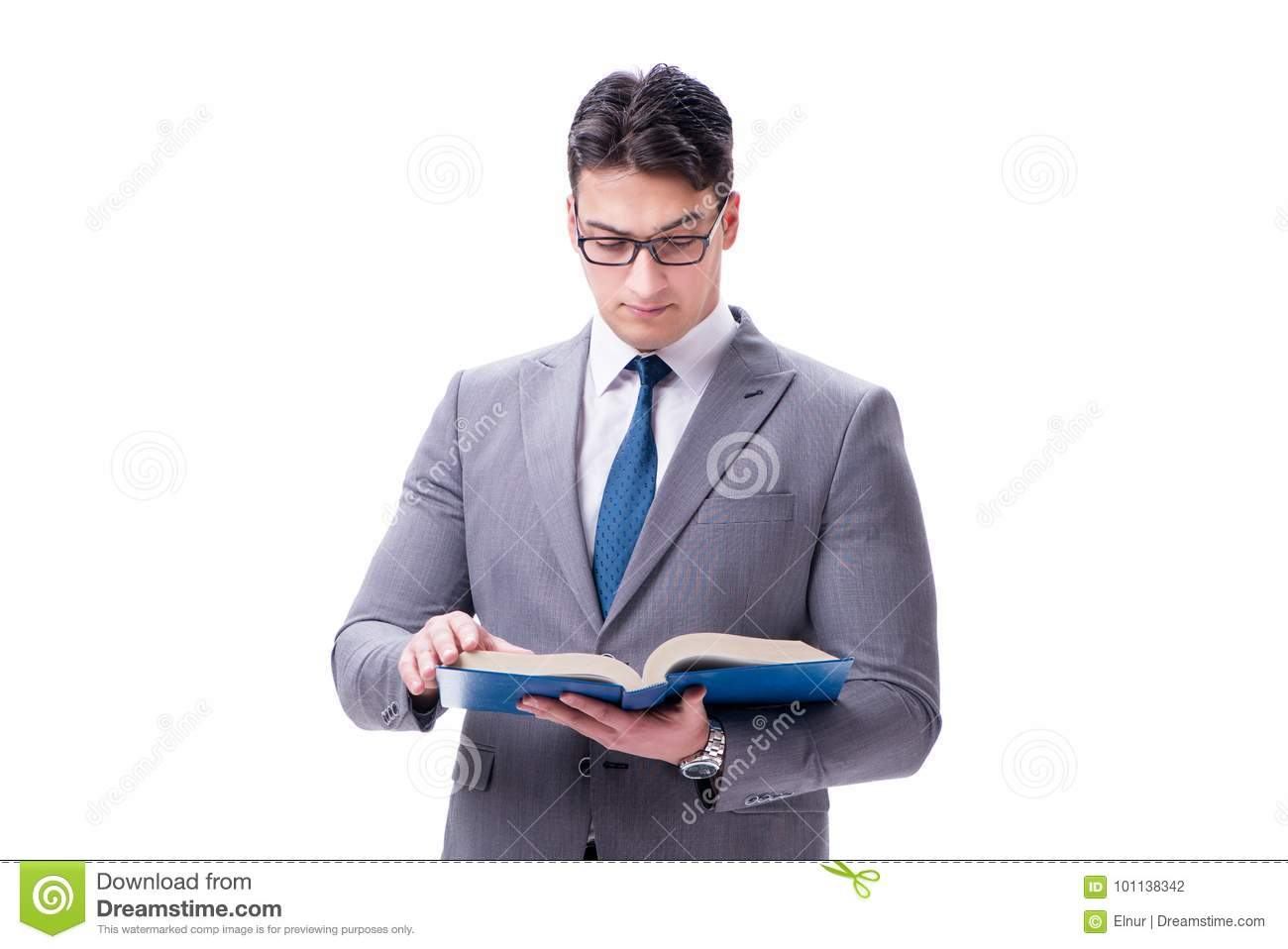 The Businessman Student Reading A Book Isolated On White