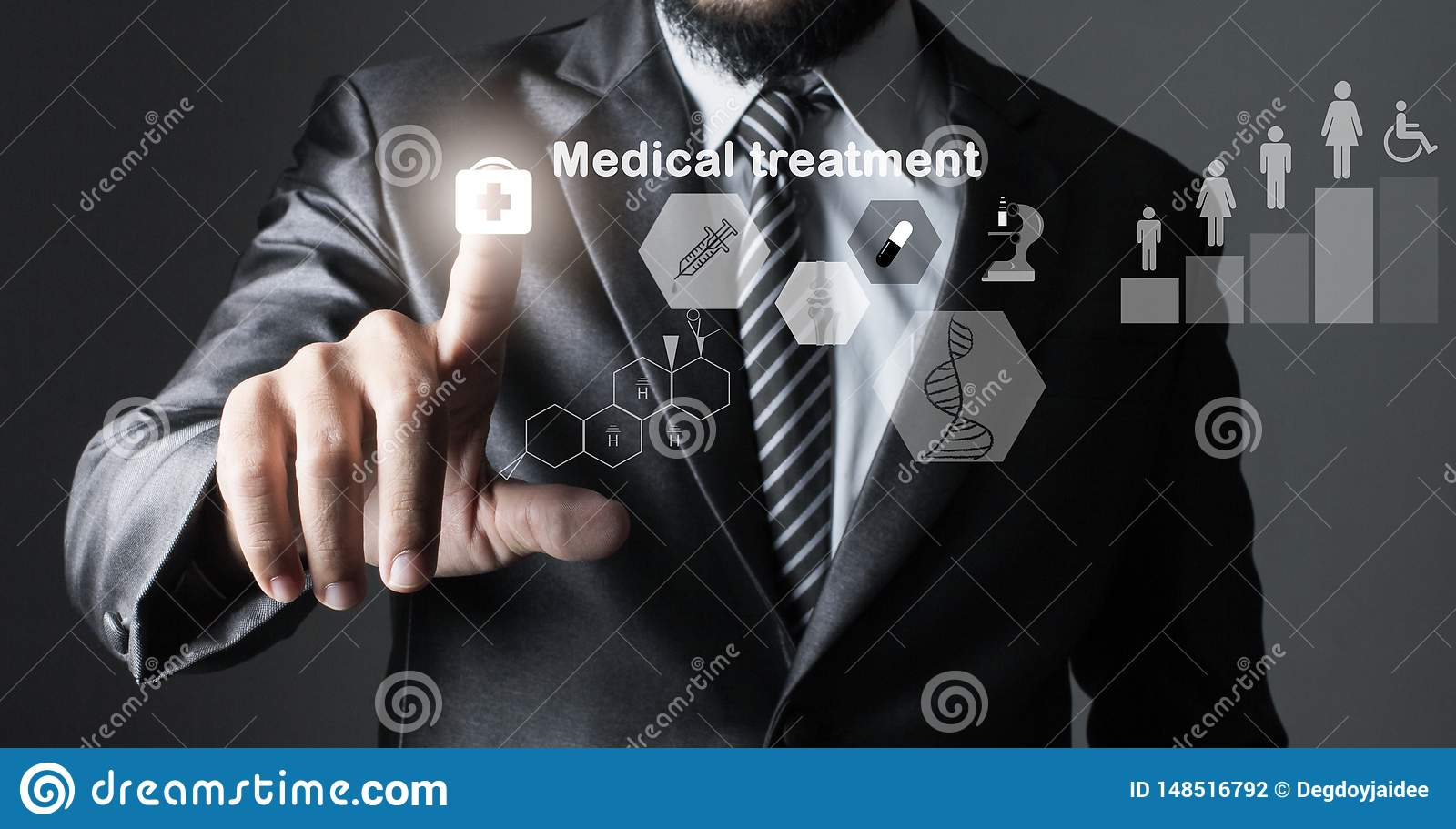 Businessman in suit grey of hand touching, inspecting medicine.