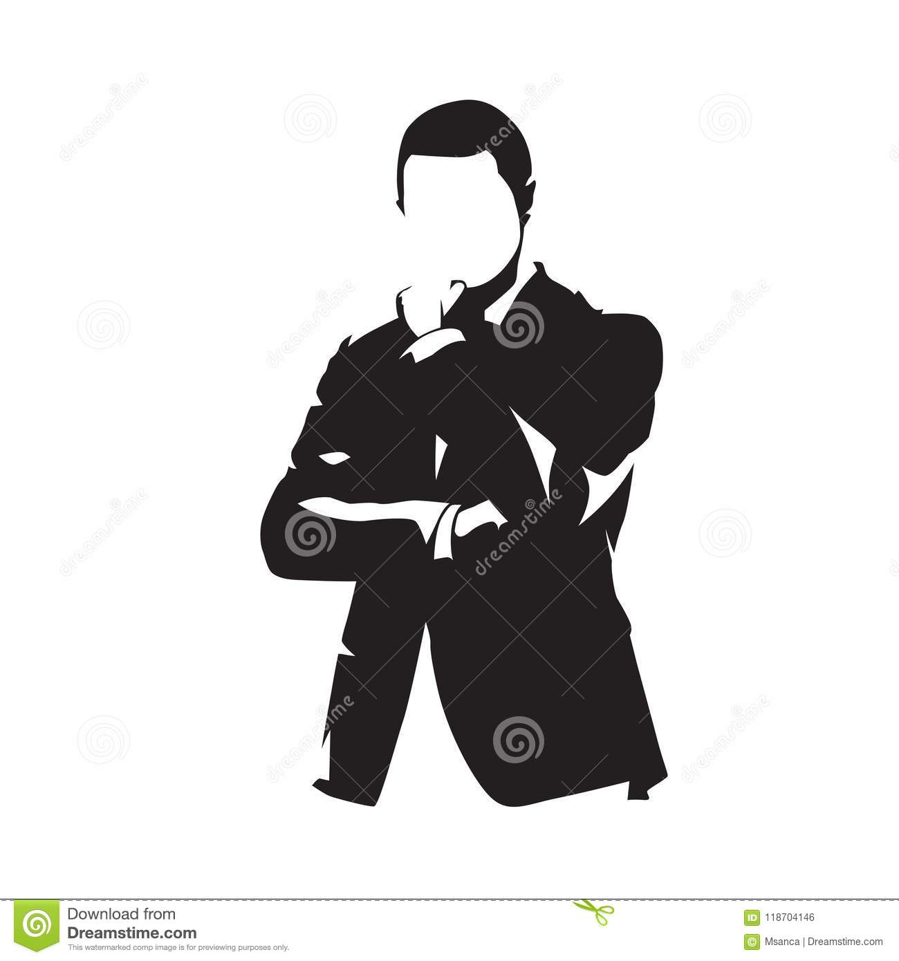 Businessman in suit thinking, isolated vector silhouette
