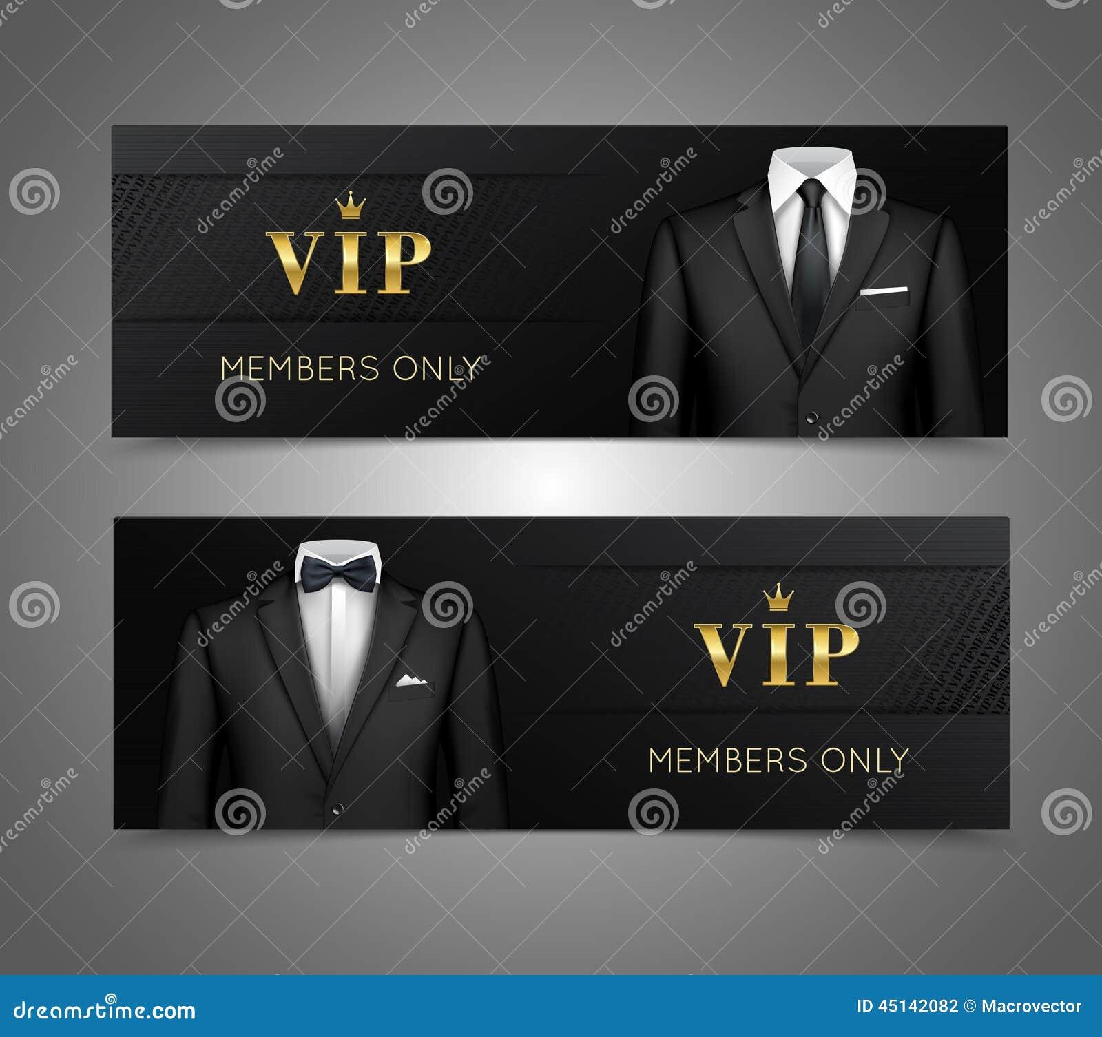 Executive Privilege Audiobook: Businessman Suit Vip Cards Horizontal Banners Stock Vector