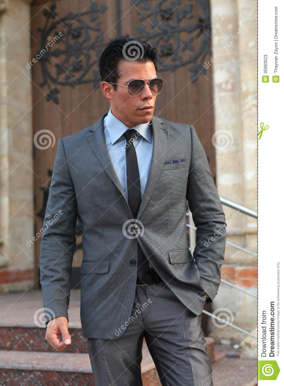 Businessman With Sunglasses Gray Suit Stock Photos