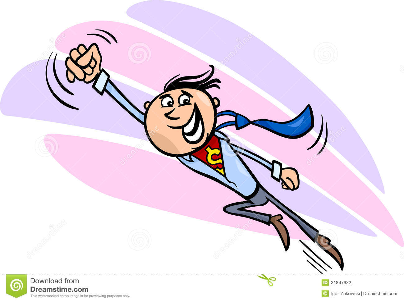 Superhero Cartoon Characters Flying Businessman superhero cartoon