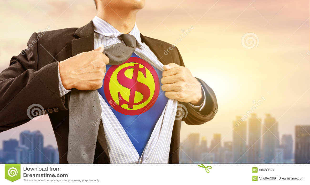 Businessman in superhero costume with dollar sign