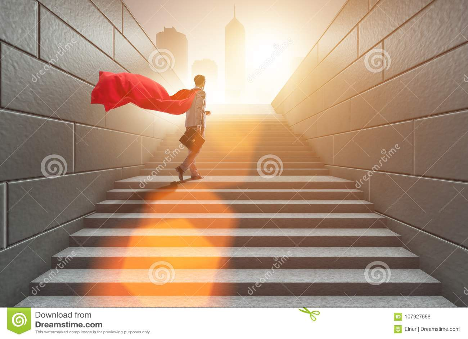 The businessman superhero successful in career ladder concept