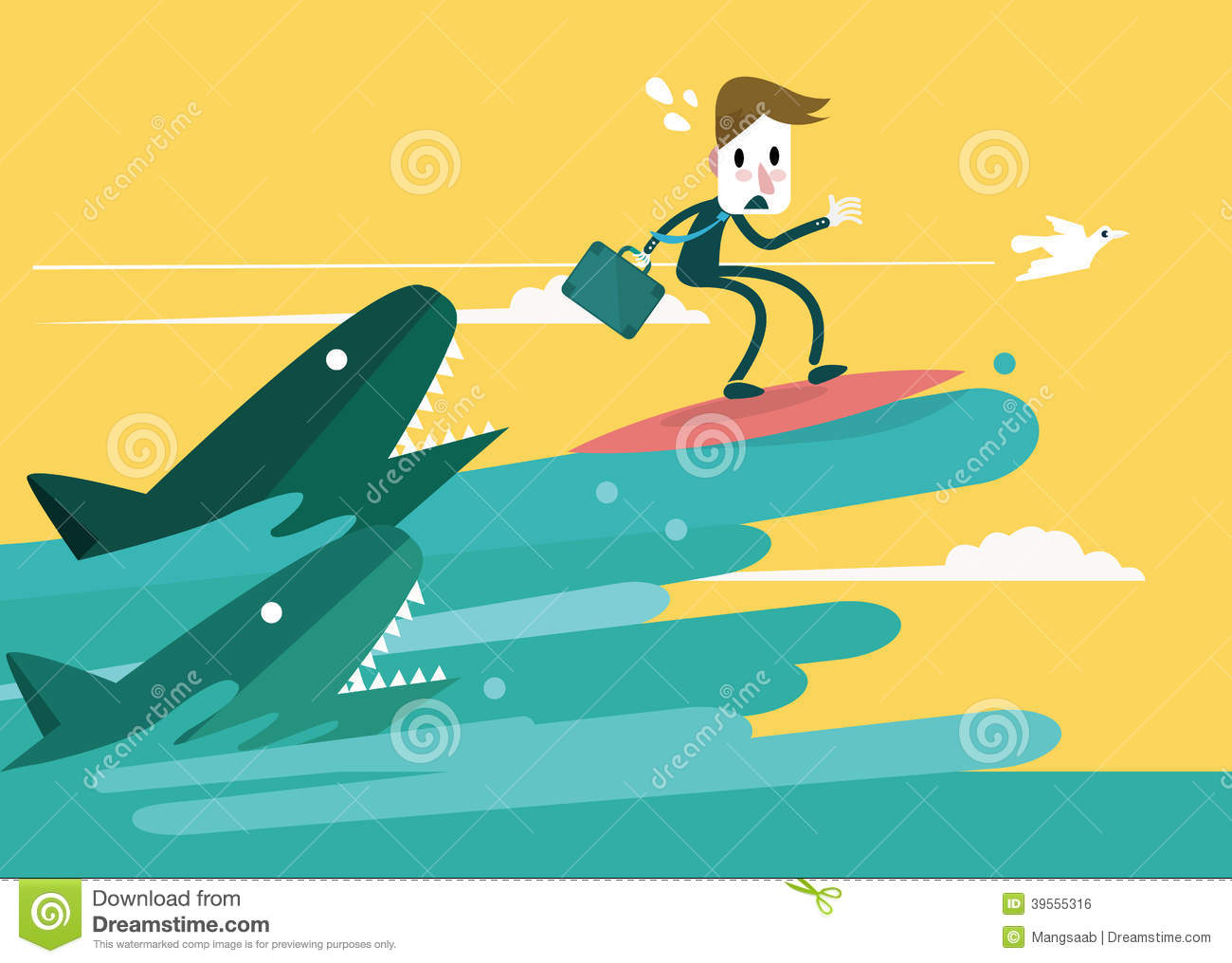 Businessman surfing to escape the shark attack stock for Design attack