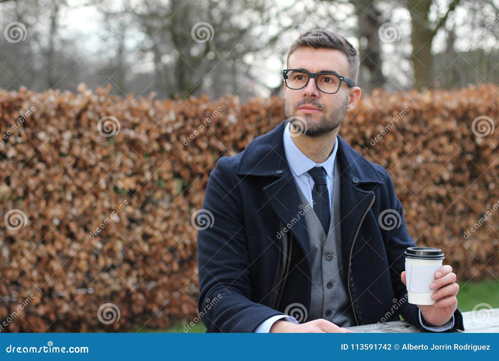 Take Break Coffeebreak : Businessman taking a coffee break stock photo image of manager