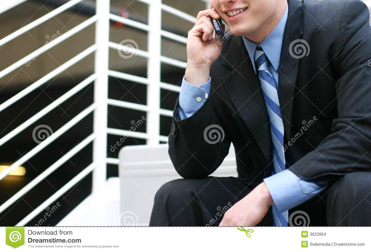 Businessman talking on cell