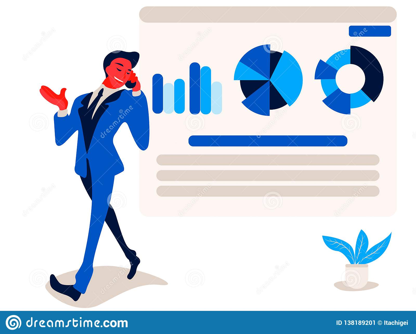 Businessman is talking on phone near to report infographics on the office chart board graph and diagram.