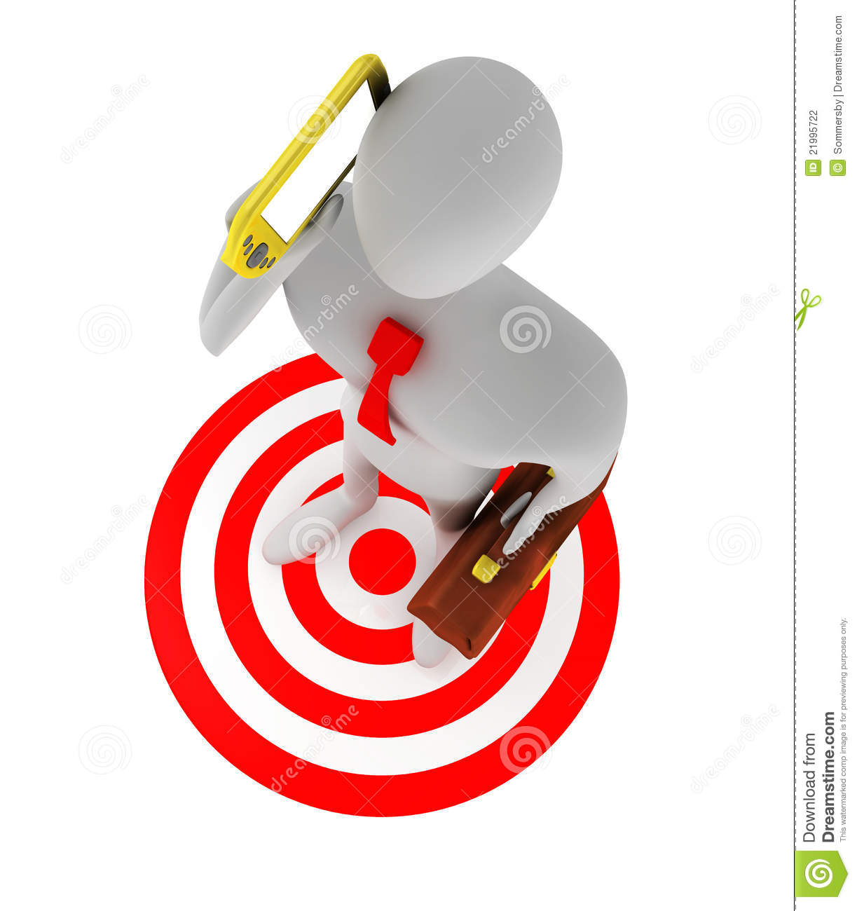 Businessman Talking On The Phone On The Red Target Stock