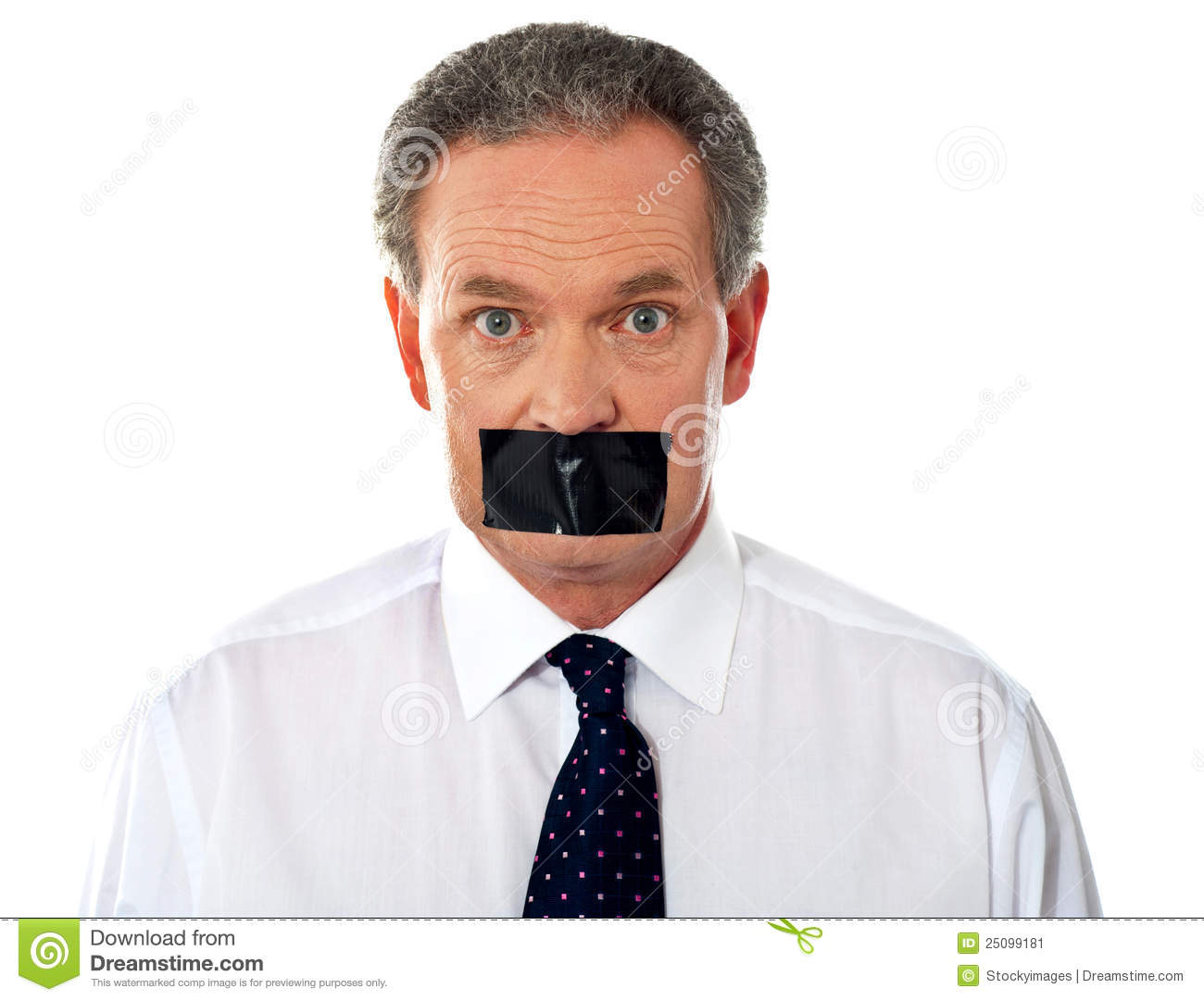 Businessman with taped mouth