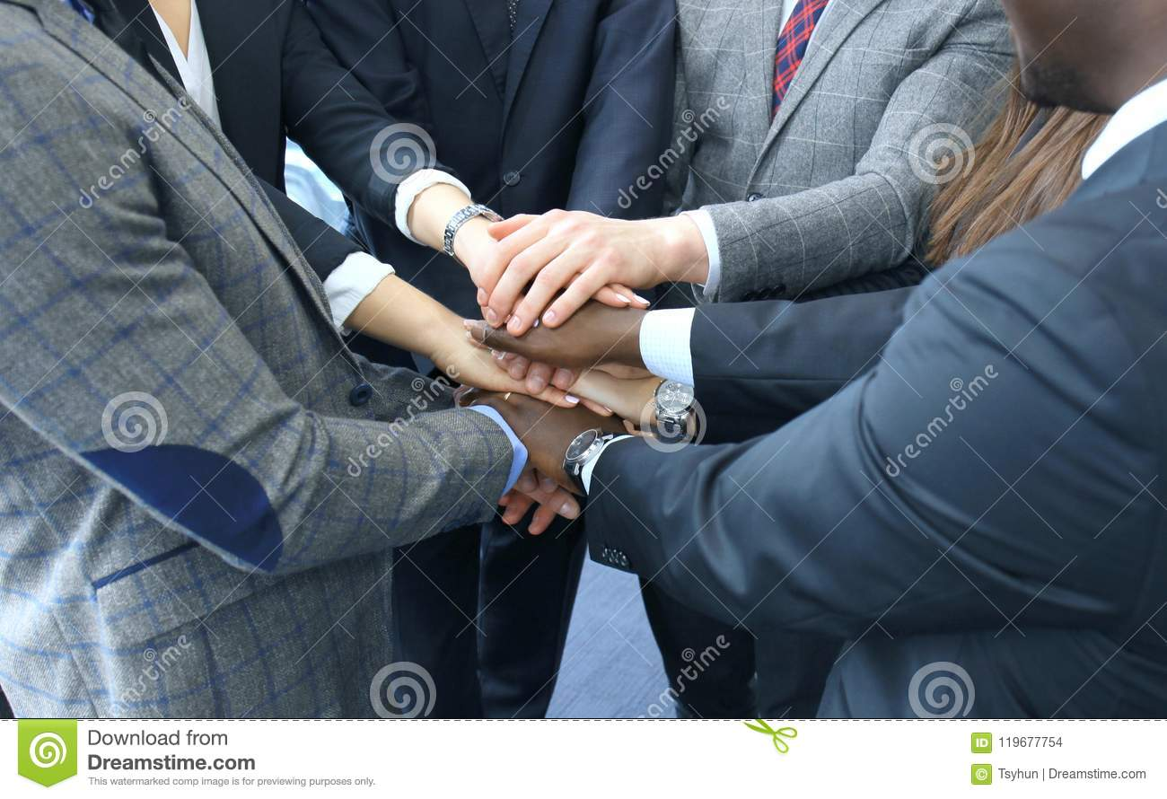 Workers hold hands together — Stock Photo ... |Touching Hands Together