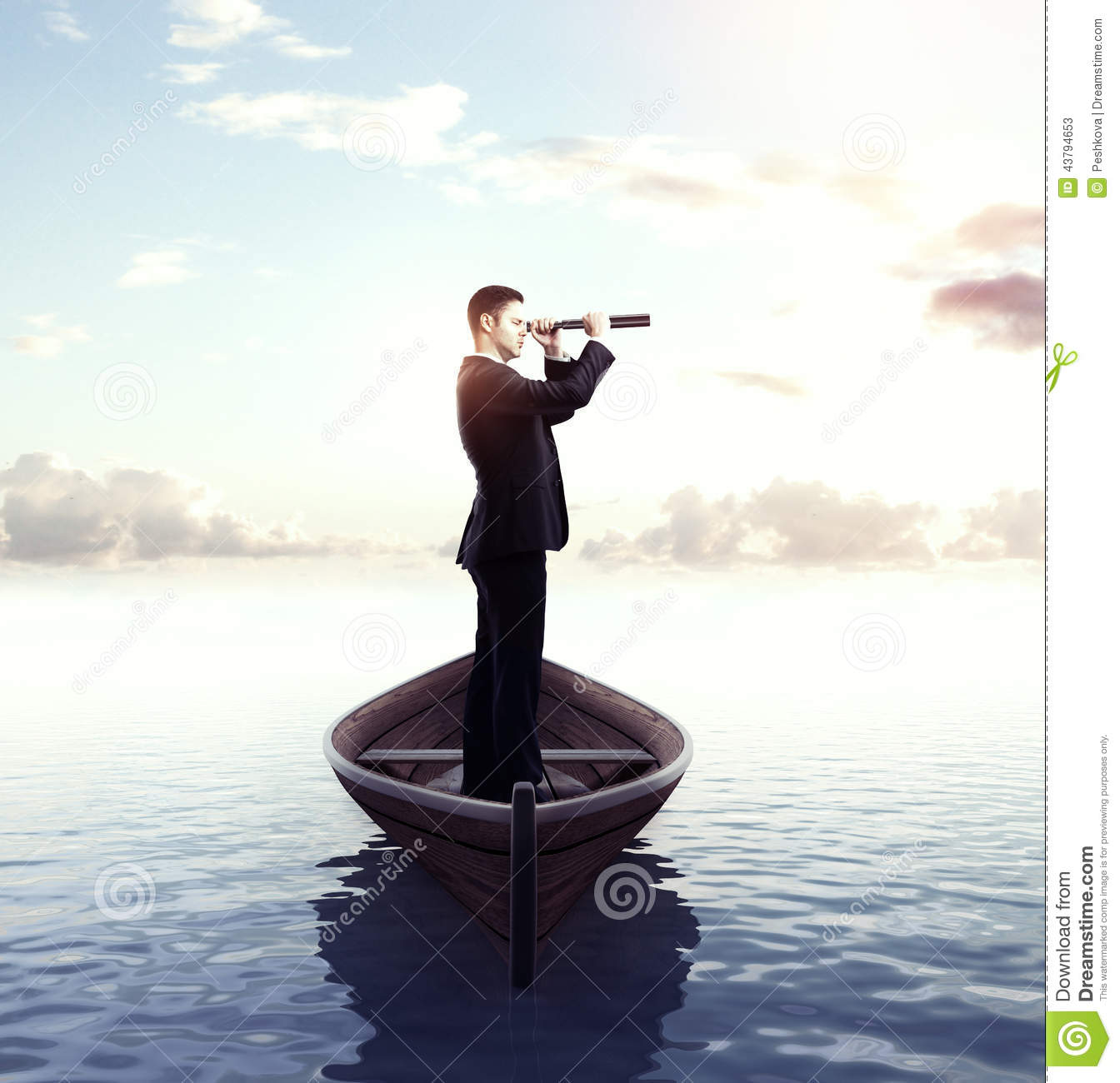 Businessman With Telescope Stock Photo - Image: 43794653