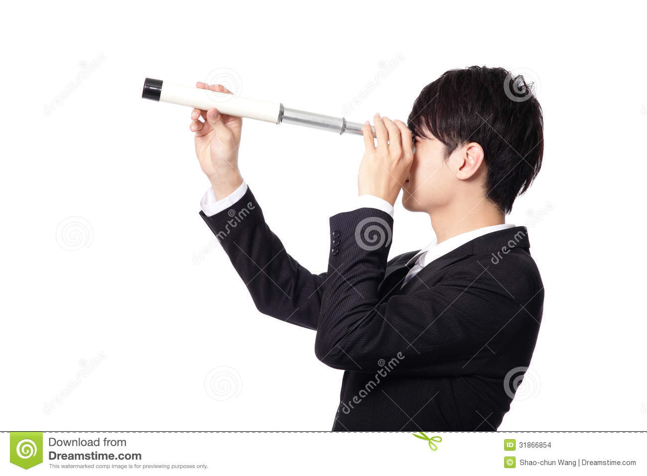 Businessman With Telescope Looking Forward Stock Images ...