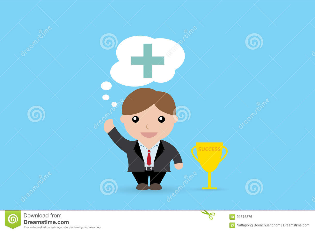 Businessman thinking with a big plus sign and trophy cup, positive thinking, Business concept