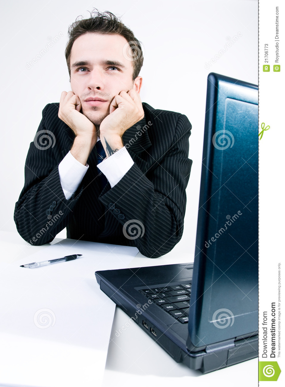 Businessman thinking dremaing in his work office