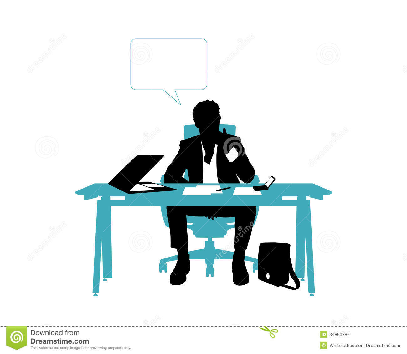Businessman Thinking Seated In His Office Desk Royalty ...