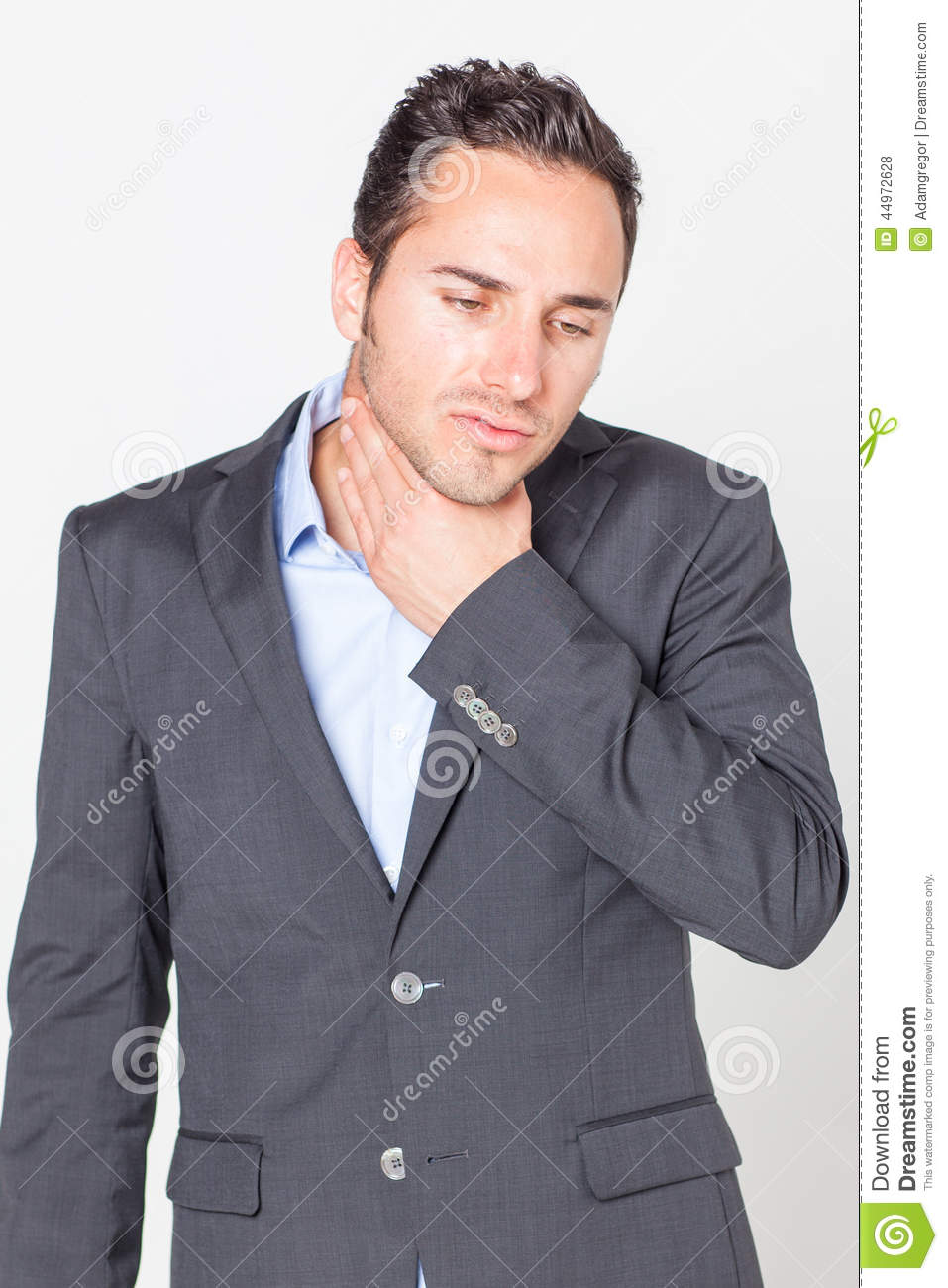 Businessman with throat problems