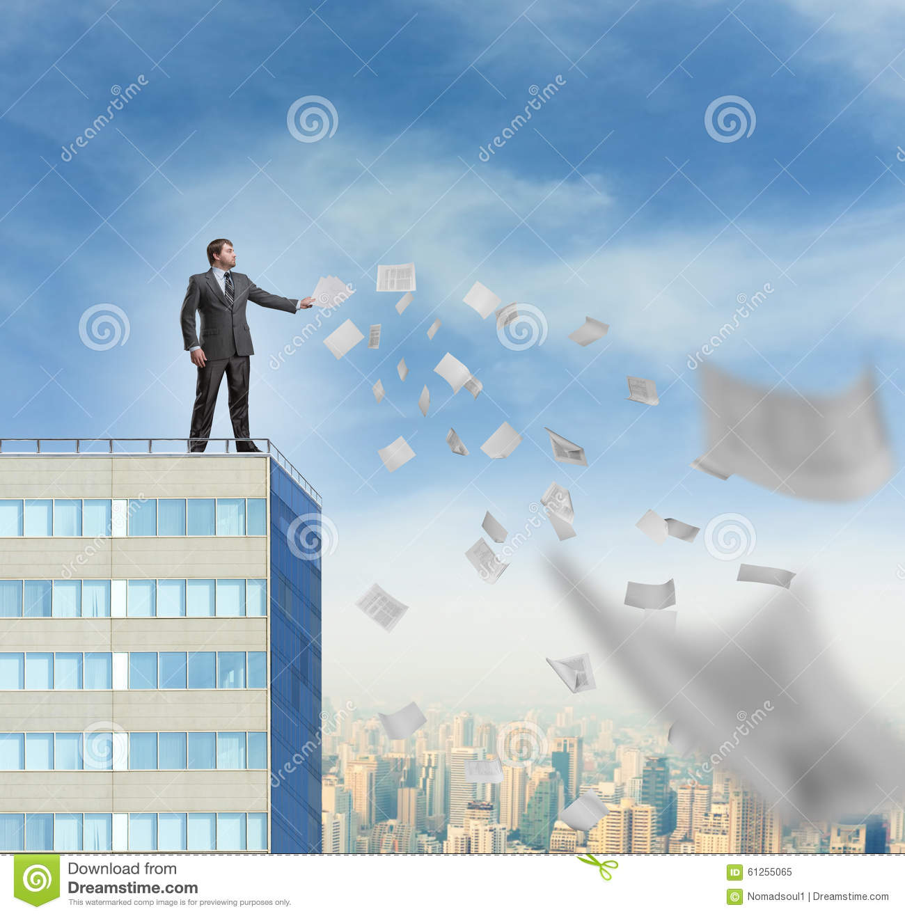 Businessman is throwing away the documents