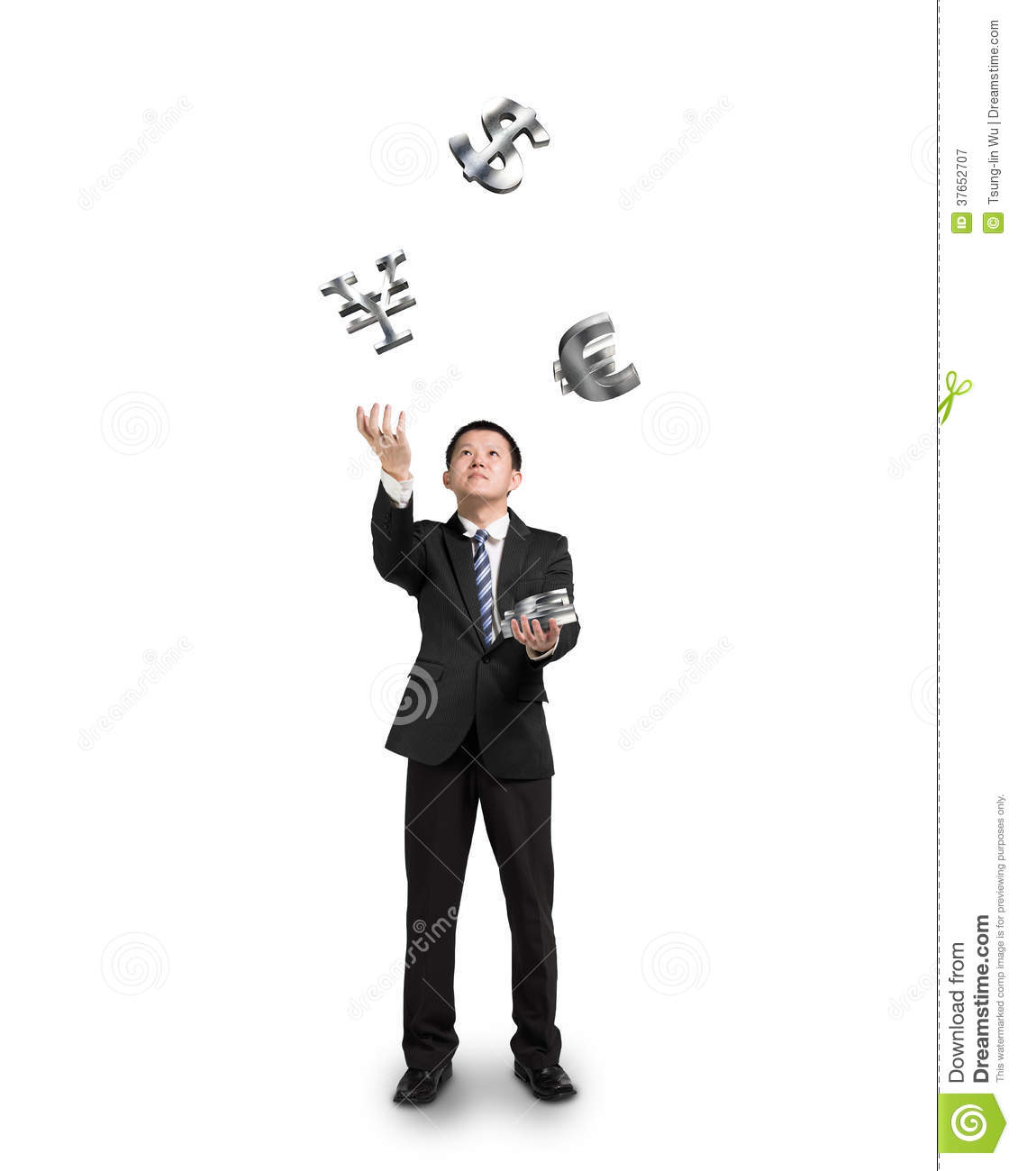 Businessman throwing and catching sliver money symbols