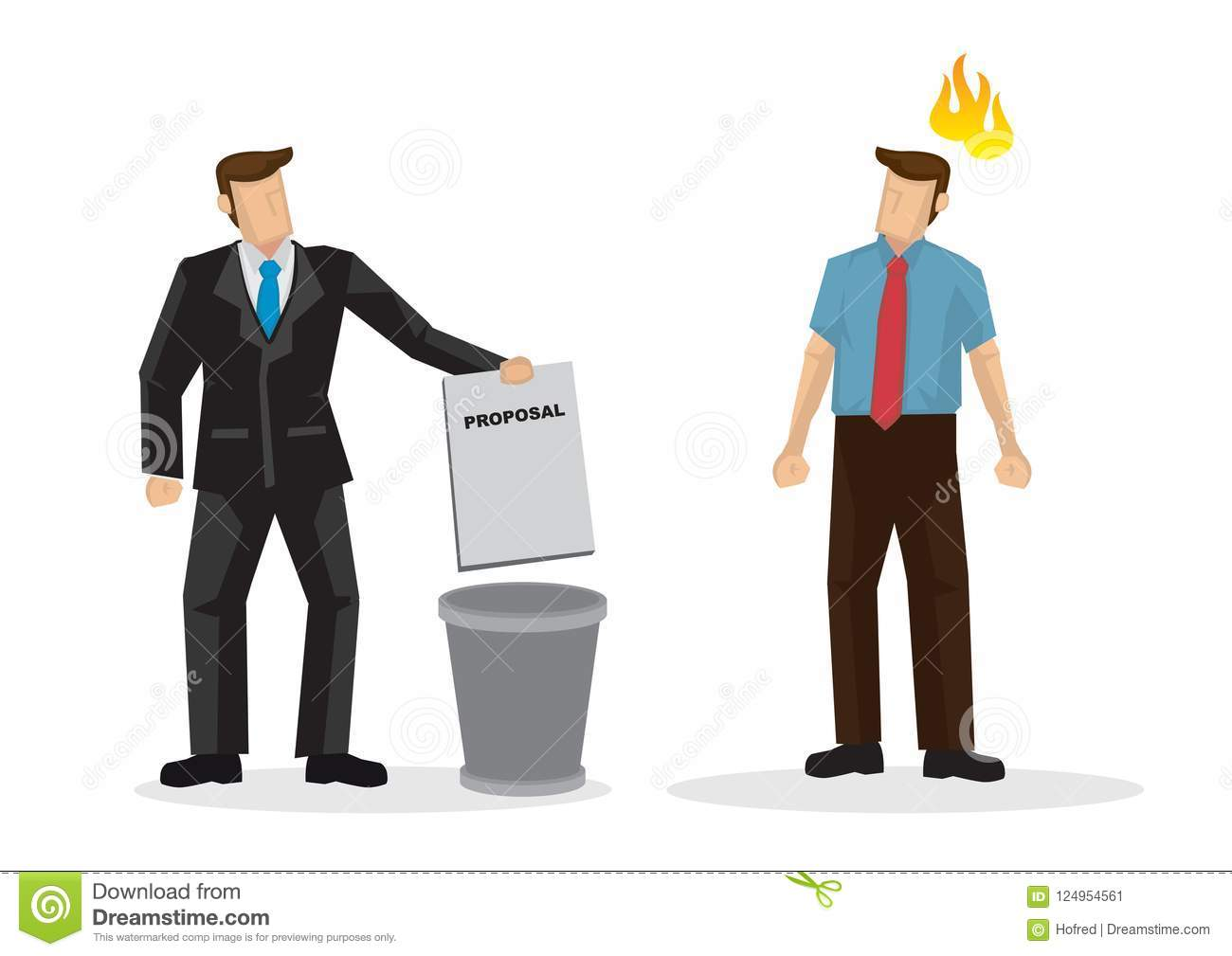 businessman throwing idea proposal or agreement into the trash