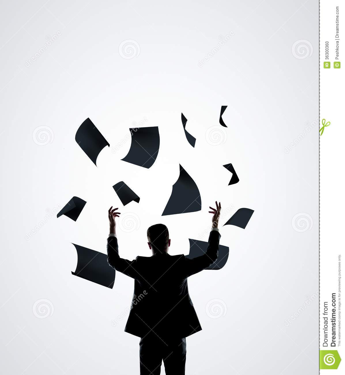 Businessman Throwing Paper Stock Photo - Image: 36300360