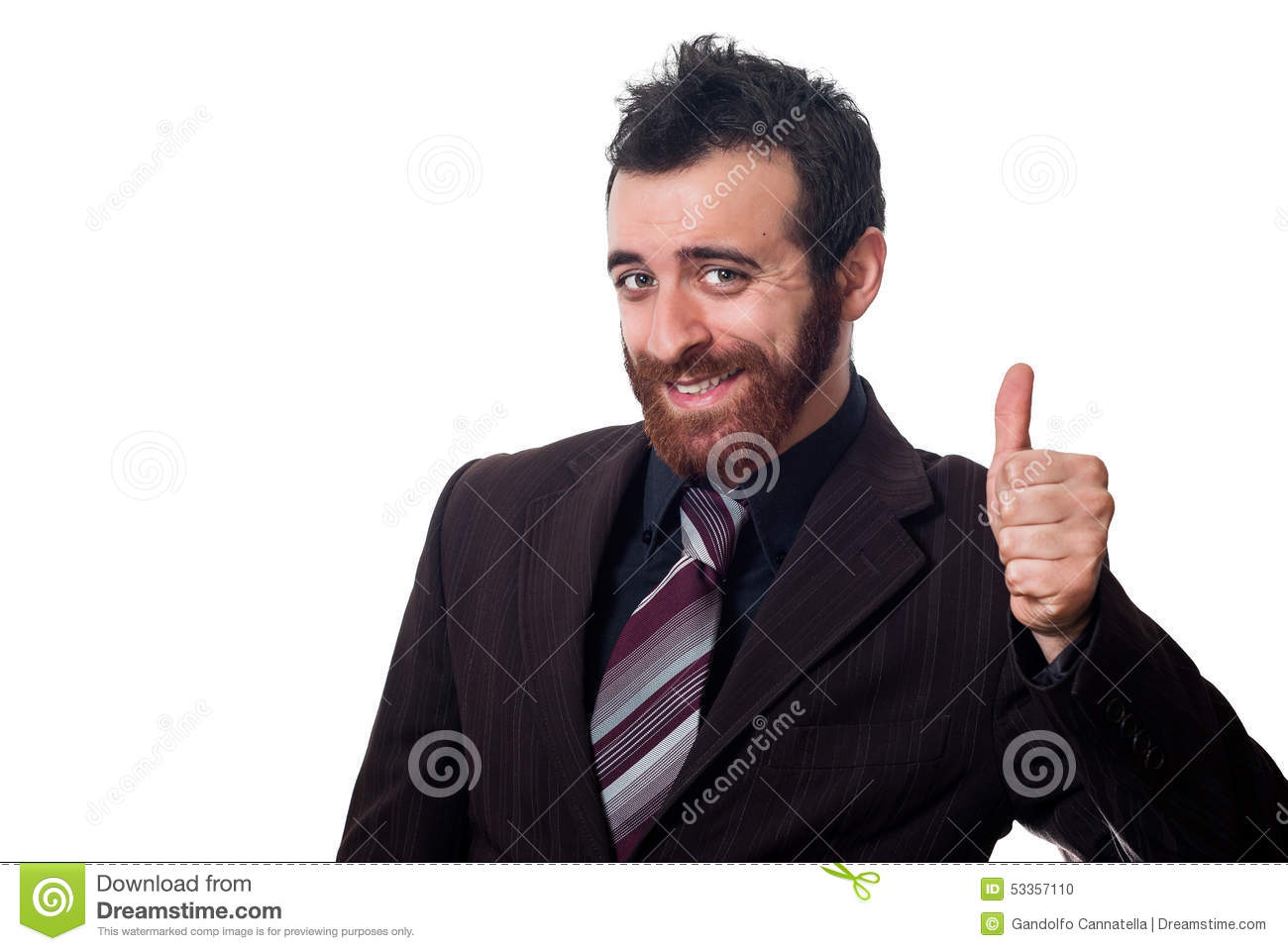 Businessman with thumb up on white