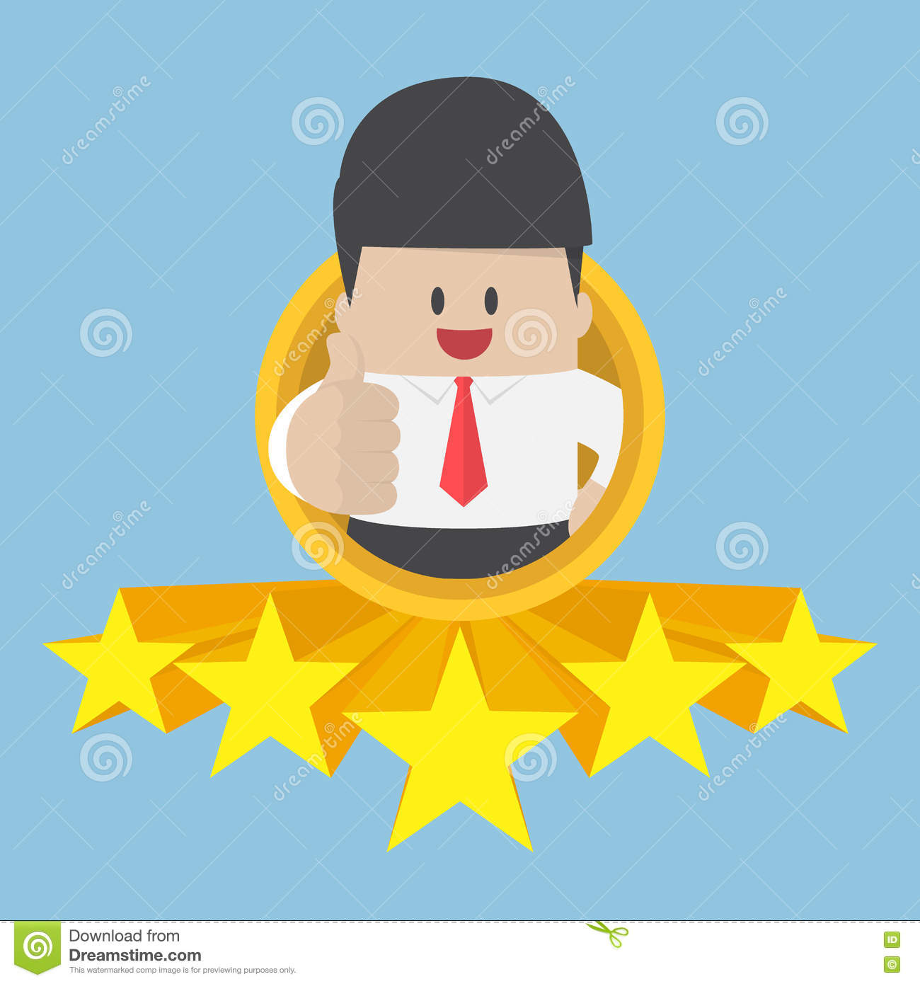 Businessman Thumbs Up With Five Star Rating Stock Vector